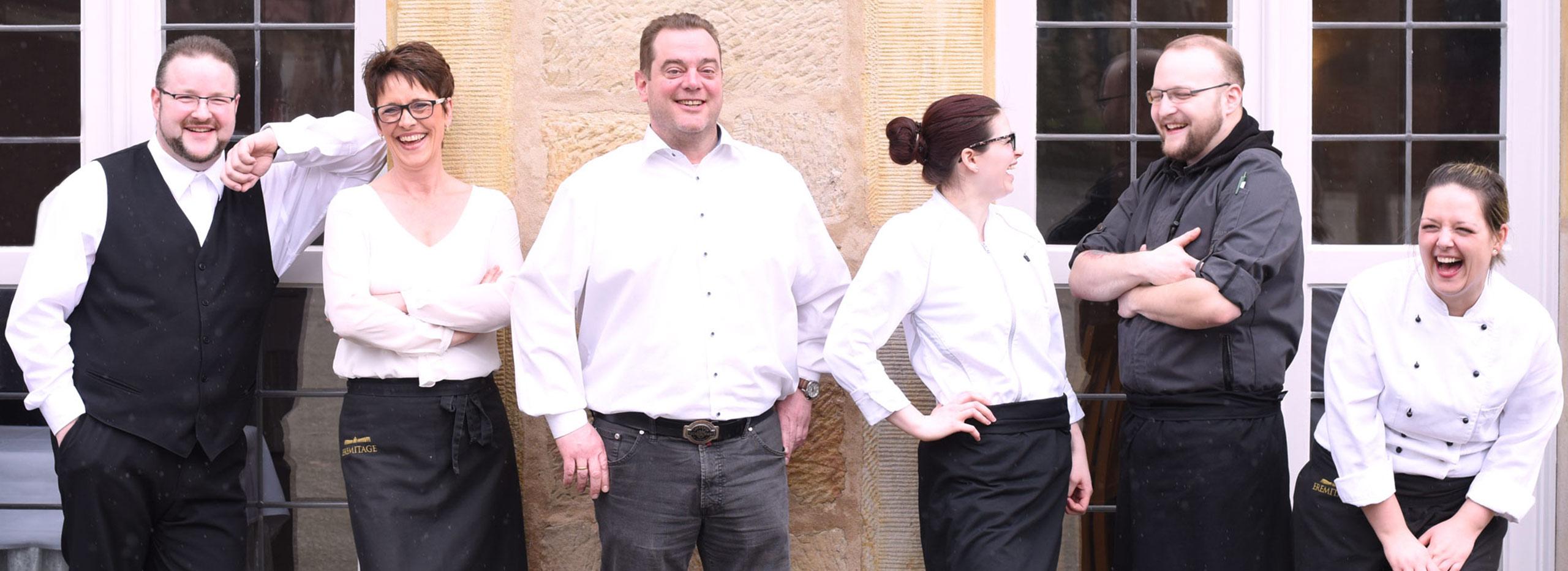 Das Team der Eremitenklause Bayreuth, Ihrem Restaurant nahe der Eremitage.